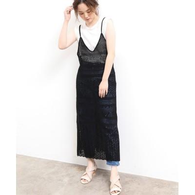 【ビス】 麻タッチレース編みキャミワンピース レディース ブラック F ViS