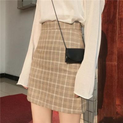 送料無料 スカート ミニ丈 春 秋 ボックス ハイウエスト チェック柄 細かい 小さいサイズ