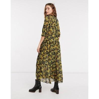 エイソス レディース ワンピース トップス ASOS DESIGN oversized midi smock dress in dark ditsy floral Dark based micro floral
