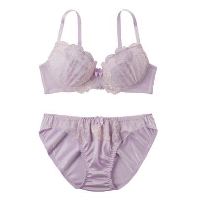 フラワーモチーフデザインブラジャー・ショーツセット(C80/L) (ブラジャー&ショーツセット)Bras & Panties