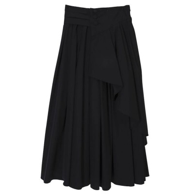 エイミーイストワール eimy istoire フロントボタンタックフレアスカート (BLACK)