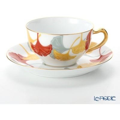 大倉陶園 100周年カウントダウン碗皿シリーズ第1弾 ティー・コーヒー碗皿 銀杏模様 1C/E193