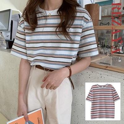 Tシャツ レディース 春 夏 5分丈袖 ブラウス ラウンドネック シャツ  トップス   ボーダー   おしゃれ    合わせやすい 女性 20代 30代