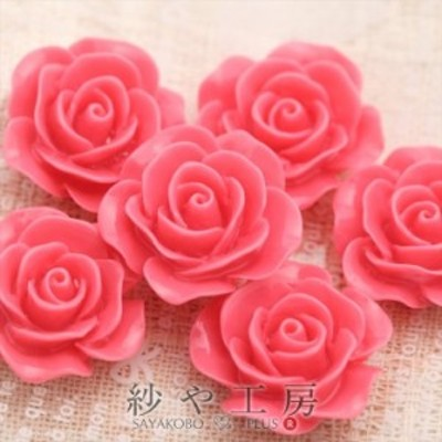 フラワーカボション バラ5個 24mm ピンク 2.4cm 1つ穴 お花 花 ハンドメイド手芸用品 アクセサリーパーツ 通し穴付き パーツ