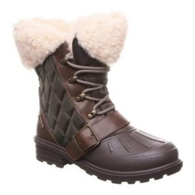 ベアパウ レディース ブーツ&レインブーツ シューズ Delta Winter Boot Brown Action Leather/Quilted Nylon