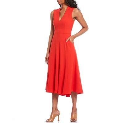 エリザジェイ レディース ワンピース トップス V-Neck Sleeveless Front Pocket Crepe Hi-Low A-Line Midi Dress Red