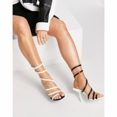 パブリックディザイア Public Desire レディース サンダル・ミュール シューズ・靴 Loopy mis-matched spiral sandals in monochrome