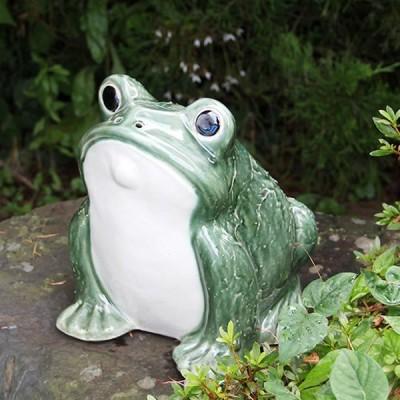 信楽焼 カエル君 緑色 縁起物カエル お庭に玄関先に陶器蛙 陶器やき 蛙 陶器かえる  カエル  ka-0064