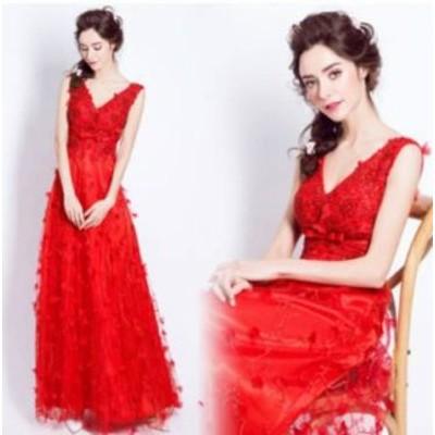ロングドレス 赤 演奏会 パーティドレス お呼ばれ 謝恩会 大きいサイズ ゆったり大きいサイズ ロング丈 刺繍 個性的 花柄 レース 20代 30