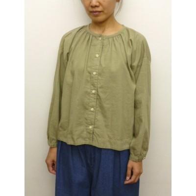 サンバレー SUNVALLEY シャツ ブラウス ギャザー 綿 ウール 綾織り 製品染め 2020年秋冬物