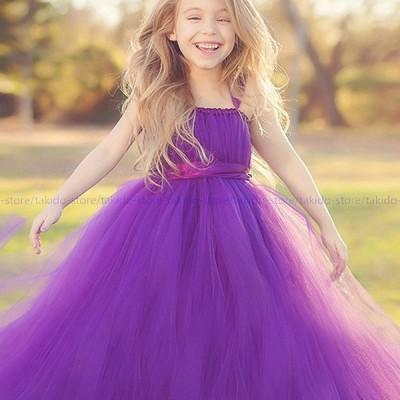 人気新品 子供ドレス ロングドレス チュール キッズ 服 ドレス Aライン 結婚式 フォーマルドレス パーティ ふわふわ キュート ブルー