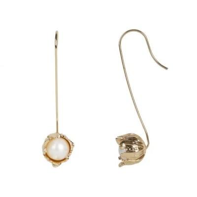 レベッカミンコフ レディース ピアス・イヤリング アクセサリー Textured Flower Wire Earrings w/ Fresh-Water-Pearl
