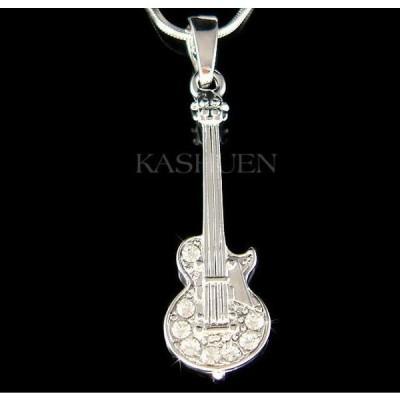 ネックレス インポート スワロフスキ クリスタル ジュエリー ~ELECTRIC GUITAR made with Swarovski Crystal Rock Music Musical Necklace Jewelry