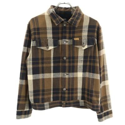 ウールリッチ チェック 長袖 ネルシャツ L 茶x黒 WOOLRICH ジャケット メンズ 古着 200915