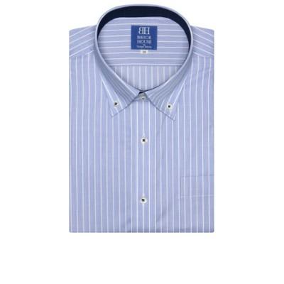 新体型 半袖 ワイシャツ 形態安定 ドゥエボットーニ ボタンダウン ブルー×白ストライプ