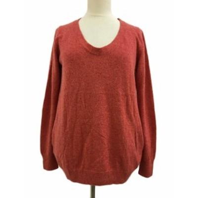 【中古】レッドクローバー red clover セーター ニット Uネック 無地 アンゴラ混 長袖 赤 オレンジ レッド