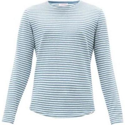 オールバー ブラウン Orlebar Brown メンズ 長袖Tシャツ トップス Ob-T cotton-blend long-sleeved T-shirt Blue