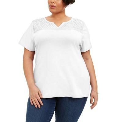 ケレンスコット カットソー トップス レディース Plus Size Crochet-Yoke Top Bright White