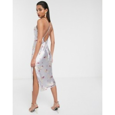 エイソス レディース ワンピース トップス ASOS DESIGN cami midi slip dress in high shine satin with lace up back Floral print