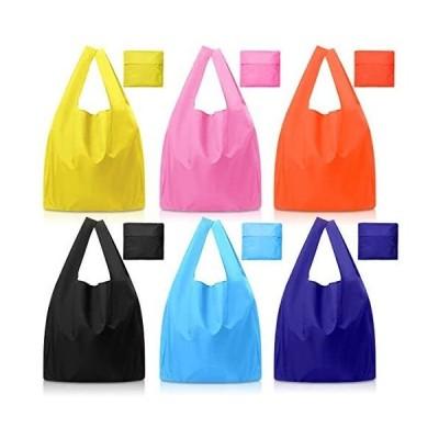 エコバッグ 6個入り 折りたたみ 買い物袋 ショッピング バッグ 防水 コンパクトバッグ 耐荷6kg 軽量 頑丈