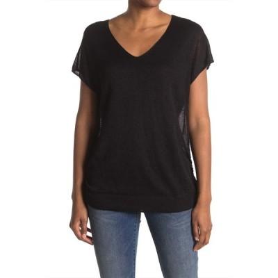 トッミーバハマ レディース Tシャツ トップス Alana Side Tie Linen Blend Top BLACK