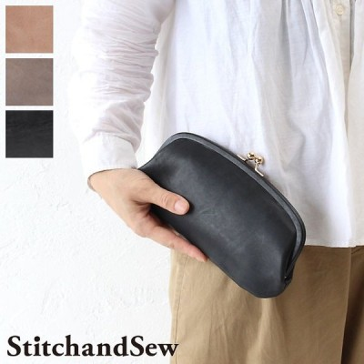 最大19%還元 ステッチアンドソー がま口 財布 カウレザー ロウ引き StitchandSew Wallet clw103 スティッチアンドソー ヌメ革 本革 牛革 メンズ レディース