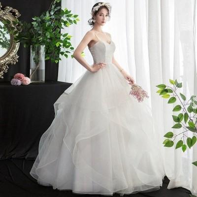 ウェディングドレス Aライン キャミドレス フレア ホワイトドレス 結婚式 花嫁 プリンセスドレス 編み上げ ロングドレス 披露宴 二次会 パニエ付き