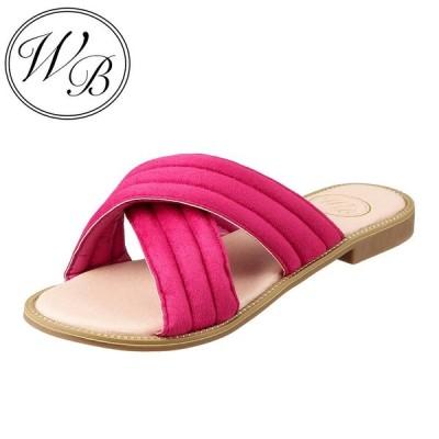 ウィルビー WILL BE WB-703 レディース | カジュアルサンダル | スエード素材 | ローヒール | シンプル 履きやすい | ピンク