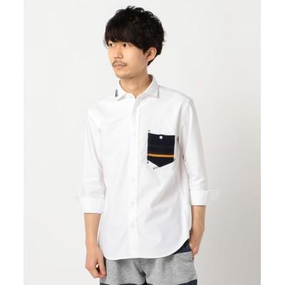 (GLOSTER/グロスター)オックスハンドステッチ7分袖シャツ/メンズ オフホワイト