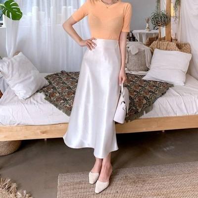スカート サテンナロースカート サテン ホワイト ブラック 光沢 上品 艶やか 華やか ロング丈 ファスナー Aライン フレア シンプル おしゃれ 大人 通勤