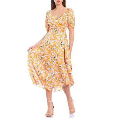 サーチンアンドバビ レディース ワンピース トップス Ava Puff Sleeve Wrap Skirt Floral Print Satin Midi Swing Dress Mango/Bubblegum