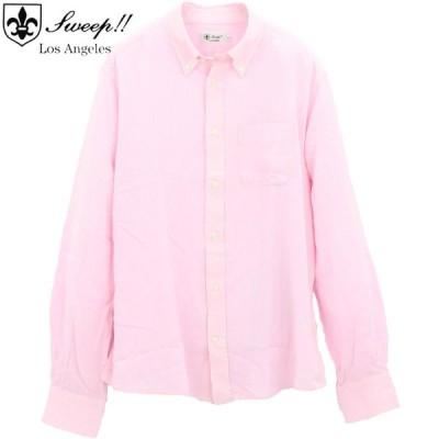スウィープ ロサンゼルス Sweep!! LosAngeles メンズ リネン混 レーヨンシャンブレー ボタンダウンシャツ SL130014  SWP PINK(ピンク)