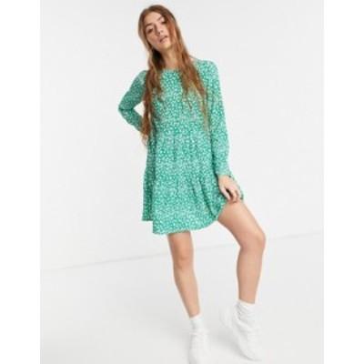エイソス レディース ワンピース トップス ASOS DESIGN long sleeve tiered smock mini dress in green floral Green based floral