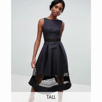 チチロンドン ワンピース structured midi dress with lace inserts in black Black