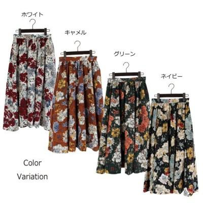 ポプリン花柄プリントギャザースカート