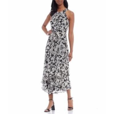 カルバンクライン レディース ワンピース トップス Sleeveless Halter Neck Floral Ruffle Hem Dress Black/Cream