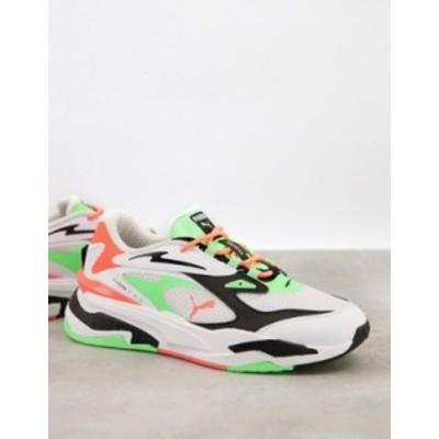 プーマ レディース スニーカー シューズ Puma RS-Fast Electro sneakers in white and neon green White/green