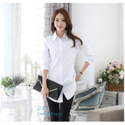シャツ レディース ロングシャツ トップス 体型カバー ブラウス カジュアルシャツ 無地 白シャツ オフィス 大きいサイズ 30 ゆったり 40 チュニック