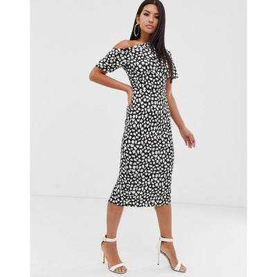 エイソス ミディドレス レディース ASOS DESIGN pleated shoulder pencil dress in mono spot print エイソス ASOS
