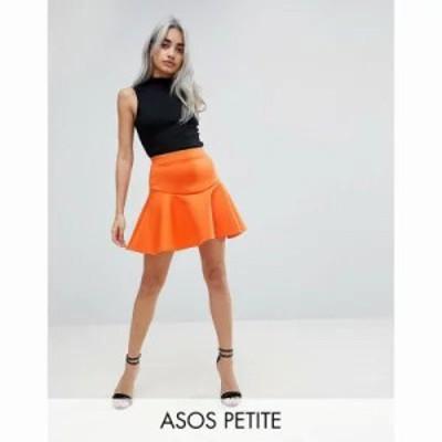 エイソス ミニスカート ASOS PETITE Scuba Mini Skirt with Frill Orange