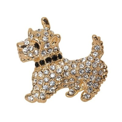 """Scottish Terrier Westie Brooch Pin 1.5"""" with Detailed Crystal Accents"""