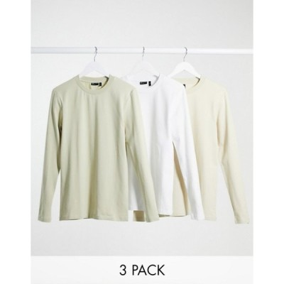 エイソス メンズ シャツ トップス ASOS DESIGN muscle fit long sleeve t-shirt 3 pack