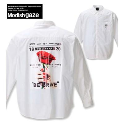 大きいサイズ メンズ MODISH GAZE 転写プリント長袖シャツ 3L 4L 5L 6L