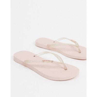 ハワイアナス レディース サンダル シューズ Havaianas slim metallics flip flops in rose Ballet rose
