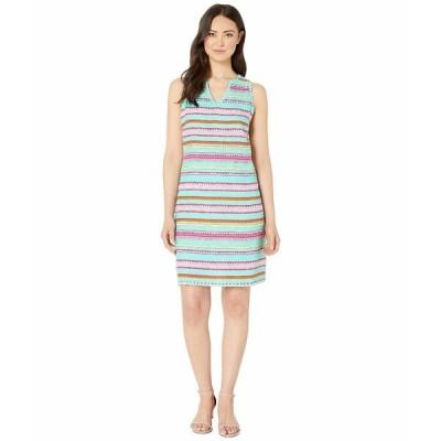 ハットレイ ワンピース トップス レディース Portia Sheath Dress Textured Stripes Blue