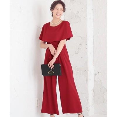 ドレス ケープカラーウエストリボンワイドパンツドレス
