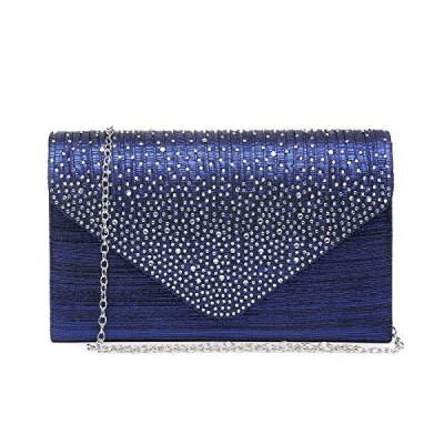 Dasein Ladies Frosted Satin Evening Clutch Purse Bag Crossbody Handbags Party Prom Wedding Envelope (Blue)
