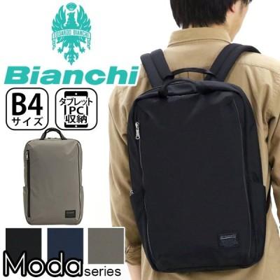 リュックサック Bianchi ビアンキ リュック スクエア デイパック バックパック メンズ レディース 男女兼用 ブランド B4 PC収納 サイドポケット 黒