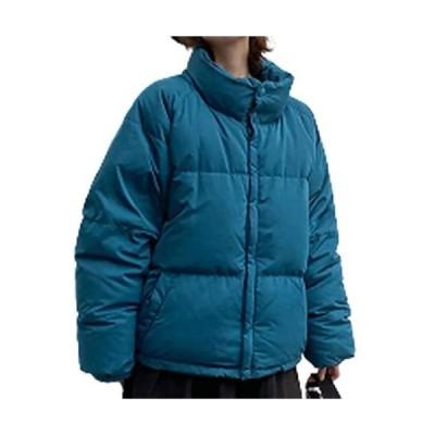 [ジョプリンアンドコー] 5カラー ゆったり ダウンジャケット ハイネック ショート丈 ジップ付き 冬物 レディース (ブルー L)