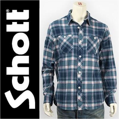 "Schott ショット 長袖 刺繍 ライトネル チェックシャツ SCHOTT LIGHT NEL SHIRT ""HORSE WITH NAME"" 3165006-84"